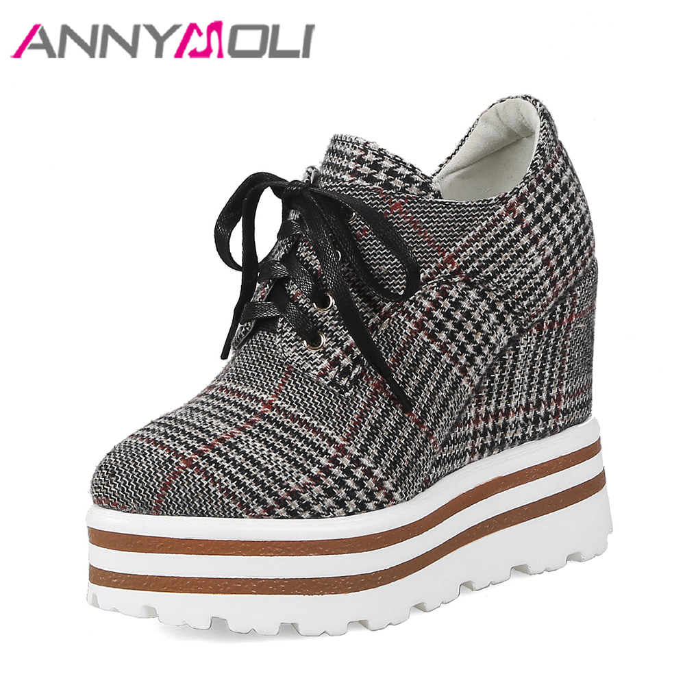 ANNYMOLI Platform Wedges High Heels Designer Plaid Shoes Women Pumps Spring Lace Up Pointed Toe Causal Shoes Hidden Heels Pumps xiaying smile woman pumps shoes women spring autumn wedges heels british style classics round toe lace up thick sole women shoes