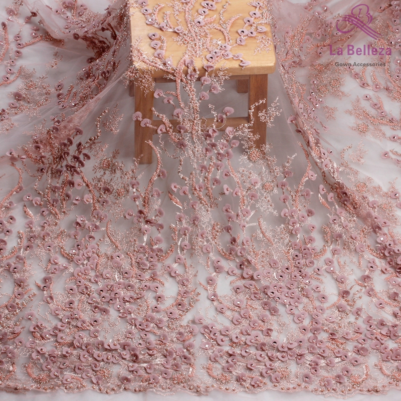 La Belleza 1 yard dirty pink heavy 3D flowers handmade beading wedding evening dress lace fabric