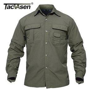 Image 4 - TACVASEN גברים של בגדים צבאיים קל צבא חולצה מהיר יבש טקטי חולצה קיץ נשלף ארוך שרוול עבודה האנט חולצות
