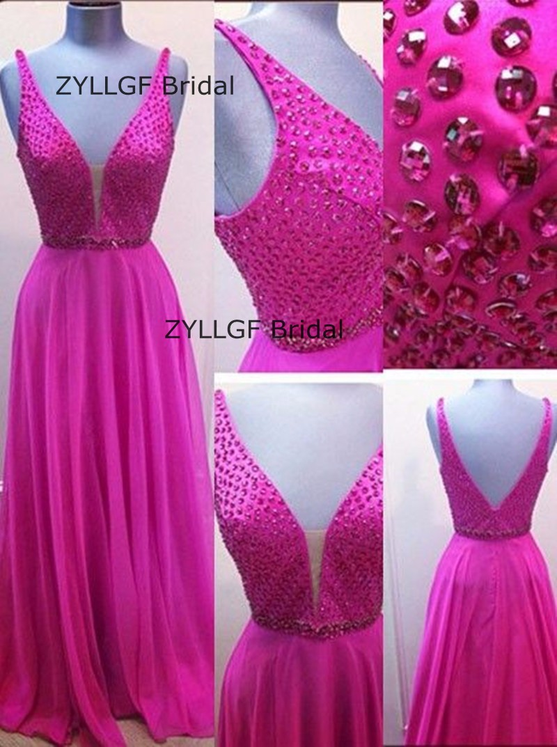 ZYLLGF Sheath Deep V Neck Crystals Beaded Mother Dress Sexy Low Back Long Chiffon Mother Gown Shopping Online SA420