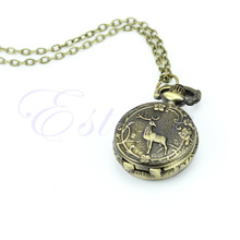Classical Bronze Tone Deer Pendant Chain Necklace Taschenuhr Pocket Watch(China)