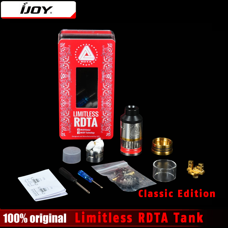 Original Ijoy LIMITLESS RDTA Classic Edition Atomizer 6.9ml Innovative Side Fill tank 25MM with pre-installed postless deck Tank free shipping leather car floor mat carpet rug for hyundai sonata hyundai i45 sixth generation 2009 2010 2011 2012 2013 2014