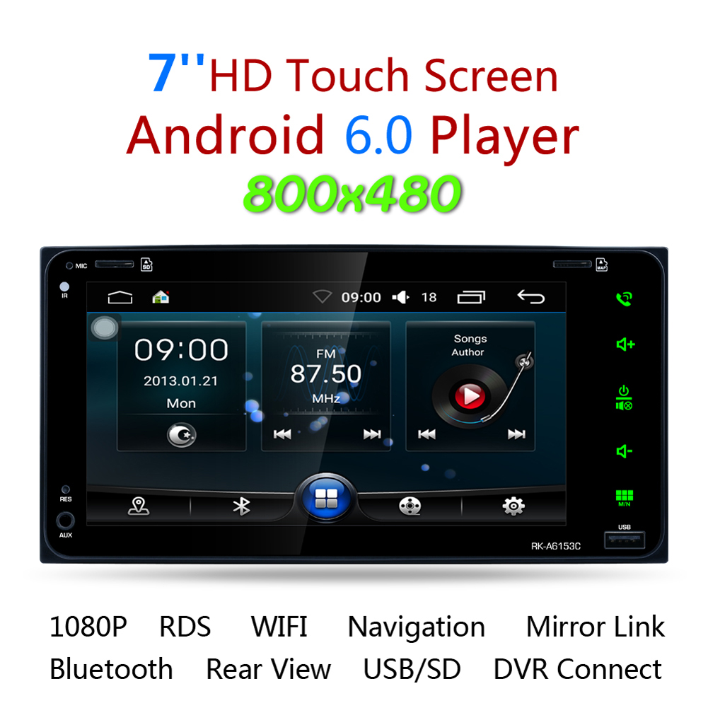7 Touch Screen Car DVD Player 2 Din Android Car Radio Stereo GPS Navigation Bluetooth Wifi USB SD Steering Wheel Control AM/FM joyous j 2611mx 7 touch screen double din car dvd player w gps ipod bluetooth fm am radio rds