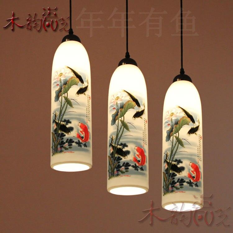 modern China Luminaire Egg shell Ceramic pendant light Three Head Restaurant dining Lamp E27 110-240V