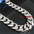 12/15/17mm Customized Size Cool Mens Jewelry Silver Tone 316L Stainless Steel Cuban Curb Chain Men's Boy's Necklaces or Bracelet