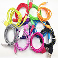200PCS Wholesale 2M Fabric Nylon Braided Micro USB Cable For Blackberry for samsung htc nylon braided cable