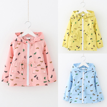wt-5223 The baby feather stamp windbreaker spring 2017 Korean version of the new girls' kids children jacket windbreaker Trench
