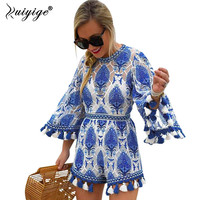 2017 Flare Sleeve Women Playsuits Tassel Rompers Women Jumpsuit Blue Floral Pattern Loose Lady Clothes Summer