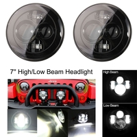 2PCS X 7 Round Headlight Black For Jeep LED 40w 4 Lens Headlamp for Jeep Land Rover Defender Lada 4x4 urban Niva