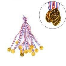12 x crianças ouro plástico vencedores medalhas esportes dia festa saco prêmios brinquedos para festa decoração quente