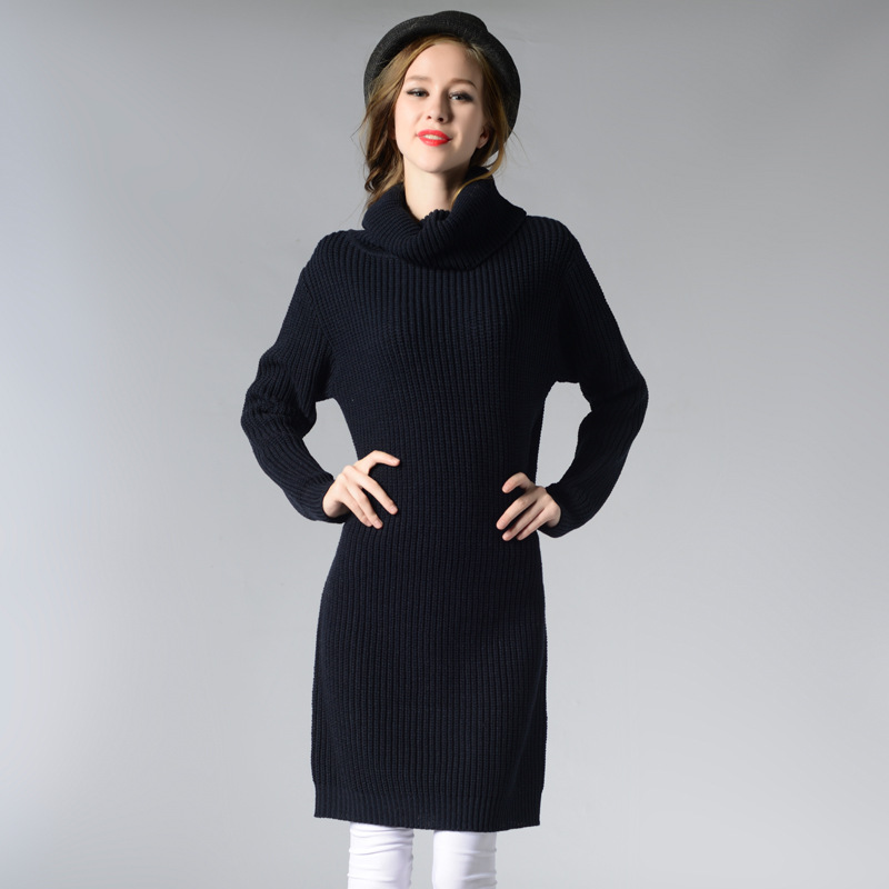 Rqueena Fashion Clothes China Winter Autumn Knit Turtleneck Dress Long Sleeve Thick Loose Acrylic Women Knitted Sweater Dress