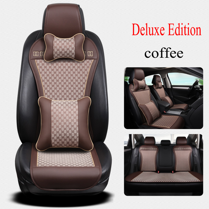 Kalaisike leather Universal car Seat covers for Volkswagen all models polo golf tiguan Passat jetta Phaeton touareg car styling