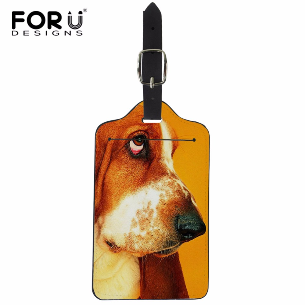 FORUDESIGNS Dog Animal Luggage Tag Travel Accessories PU Leather Suitcase ID Address Holder Baggage Boarding Tags Portable Label