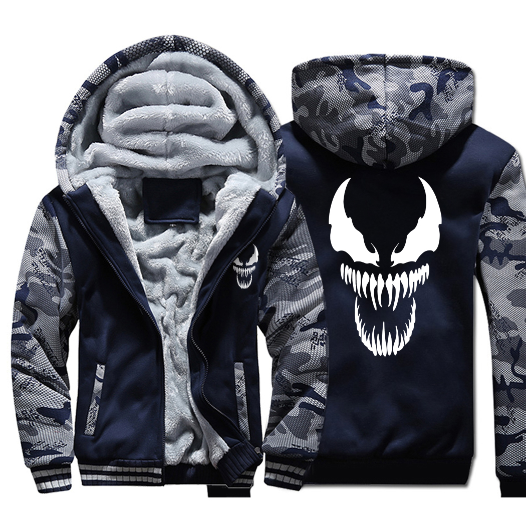 Venom Hoodies Men Movie Night Glow Hooded Sweatshirts Harajuku Coat Winter Thick Fleece Jacket Cool Noctilucent Streetwear-in Jackets from Men's Clothing