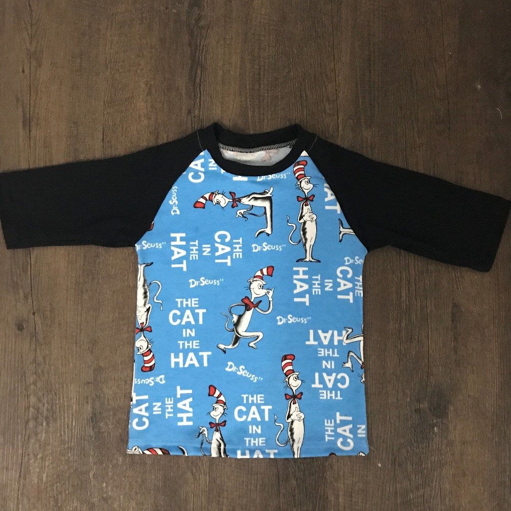Aicton Boys Tshirt Spring Winter The Cat Cotton Animal The-Hat 3/4-Raglan-Sleeve