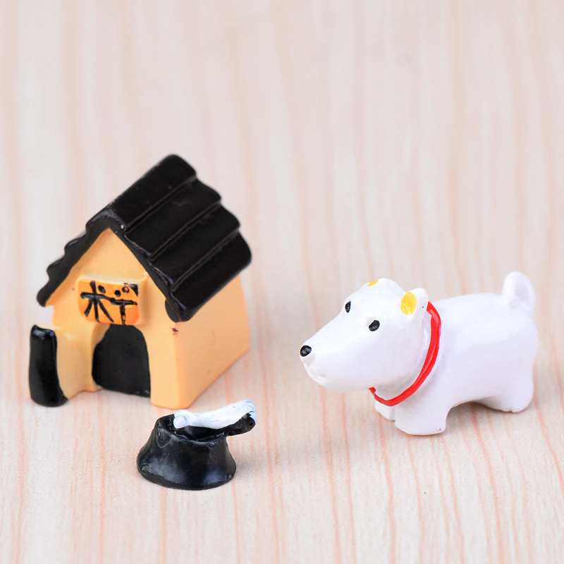 3Pcs/set Kids 2-3cm Mini Resin Dog Model Landscape Doll Gift For Garden House Cute Decoration Ornaments World Accessory image