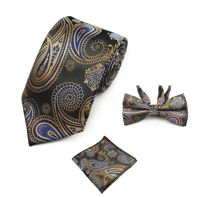 GUSLESON New Fashion Paisley Tie Set 100% Silk Mens Necktie Pocket Square Gravata Hanky Bowtie Set Mens Tie for Wedding Party