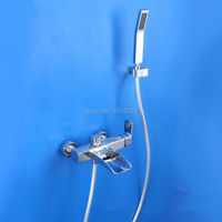 High Quality Heavy 100 Solid Brass Silver Bath Shower Faucet Set Rain Hand Shower Spray Factory