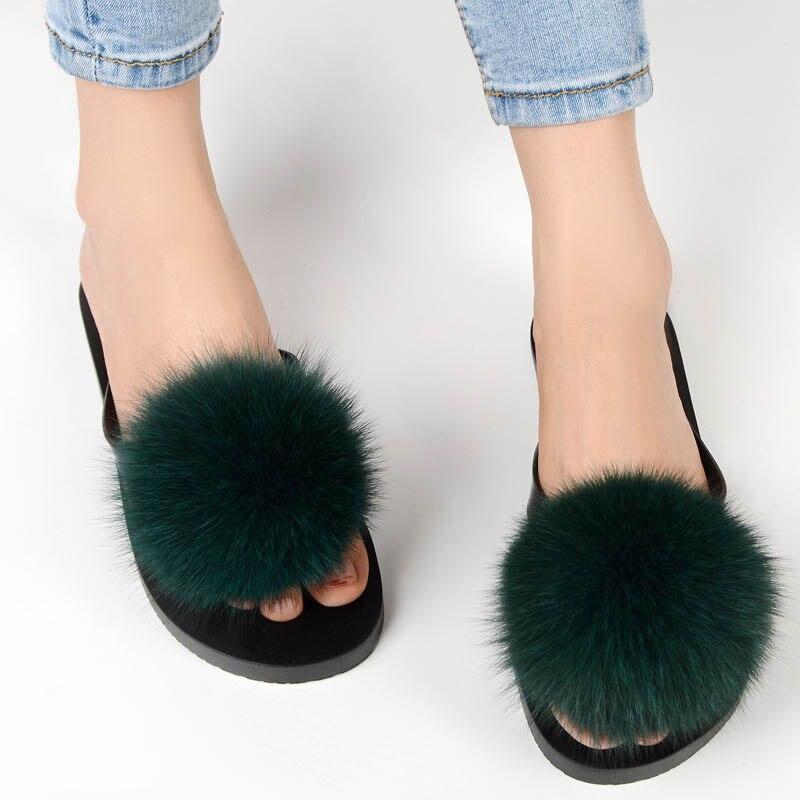 women slippers fox fur pompom (17)