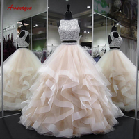 Роскошные бальные платья бальное платье рюшами Кристалл бисером выпускного вечера дебютантка сладкий 16 vestidos de 15 anos