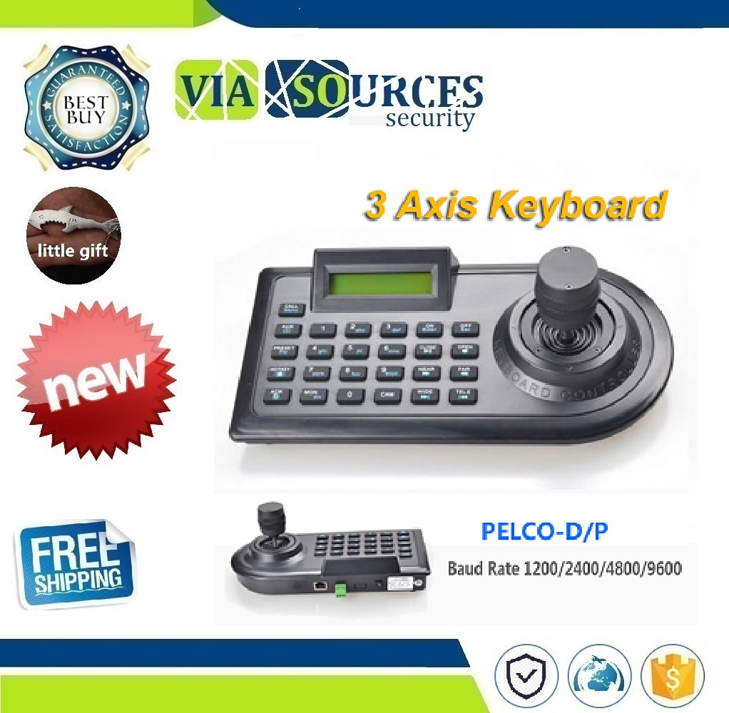 Security 3D 3 Axis PTZ Joystick PTZ Controller Keyboard RS485 PELCO-D/P LCD Display For Analog CCTV Speed Dome Pan Tilt CameraSecurity 3D 3 Axis PTZ Joystick PTZ Controller Keyboard RS485 PELCO-D/P LCD Display For Analog CCTV Speed Dome Pan Tilt Camera