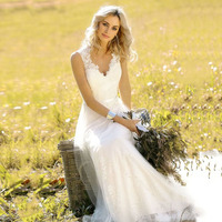Lakshmigown Vintage Wedding dress 2019 V Neck Lace Wedding Gown White Ivory with sashes Cuatom Made Bridal Gown gelinlik