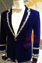royal blue mens rhinestone beading sewing collar sleeve decoration tuxedo jacket/party/stage performance