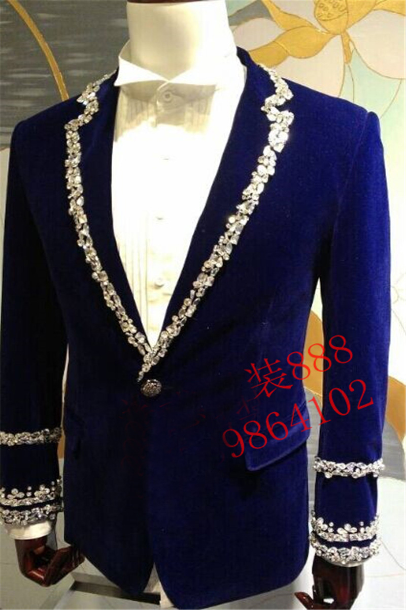royal blue mens rhinestone beading sewing collar sleeve decoration tuxedo jacket/party/stage performance