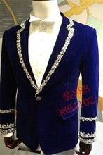 royal blue mens rhinestone beading sewing collar sleeve decoration tuxedo jacket party stage performance
