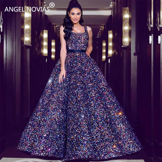 ANGEL NOVIAS Long Ball Gown Luxury High End Glitter Sequin Lace Saudi  Arabic Women Evening Dresses 2018 Avondjurken 2018 628bb01cb3ad