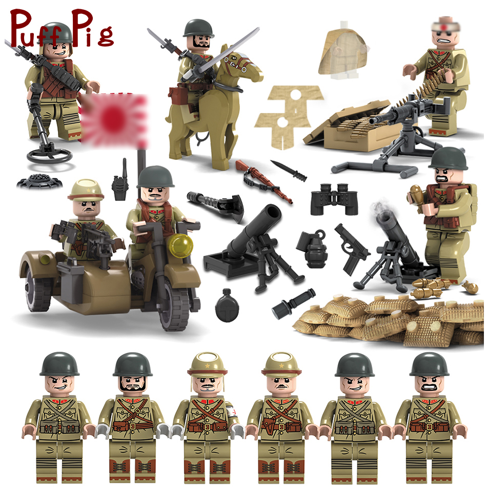 6pcs/set Army Japanese Rifleman Soldiers Guns Building Blocks Compatible  Legoed Military ww2 Weapons Figures Children Boy's Toys