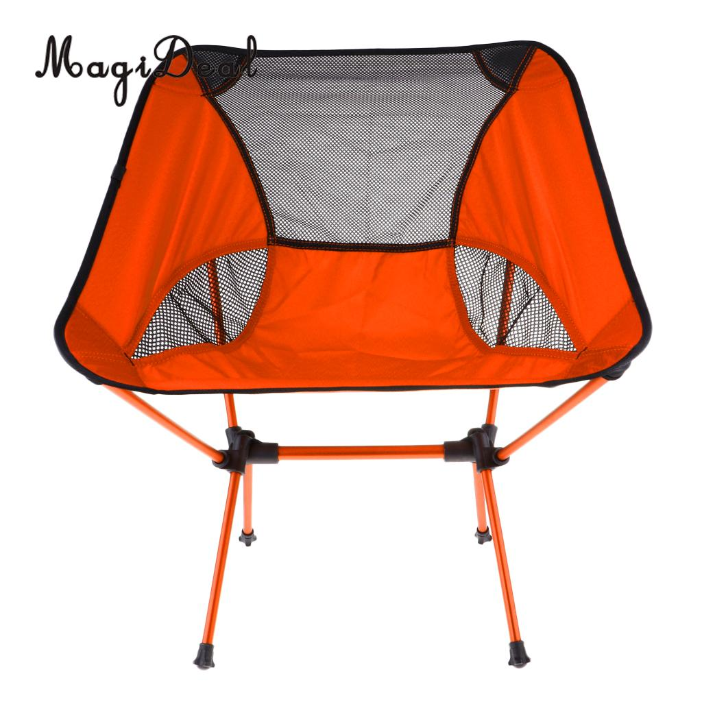 MagiDeal Ultralight Foldable Camping Chair Outdoor BBQ Fishing Seat Lounger Orange
