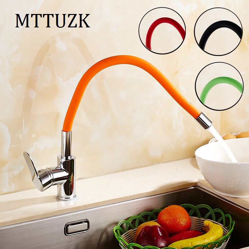 MTTUZK 360 Swivel Solid Brass Single Handle Mixer Sink Tap Down Kitchen Faucet Polished Chrome And Color Tubes Kitchen Faucet free shipping 360 swivel 100% solid brass single handle mixer sink tap pull out down kitchen faucet white and chrome color kf771