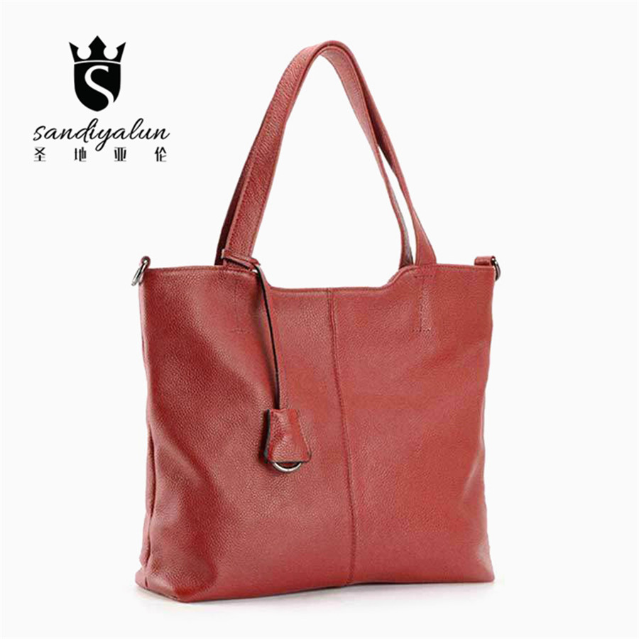 Fashion Genuine Leather Women's Handbag Cowhide Female Casual Shoulder Bags Large Capacity Women Messenger Bag Tote 2017 new female genuine leather handbags first layer of cowhide fashion simple women shoulder messenger bags bucket bags