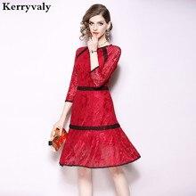 Women Flounce Wine Red Lace Christmas Dress Robes Femme 2018 Ete Autumn  Designer Midi Party Dress d10f878cff00
