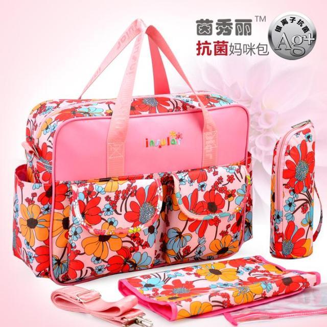 Fashion Flower Pattern Baby Diaper Bags Maternity Bag Organizer Stroller Messenger Traval Handbags