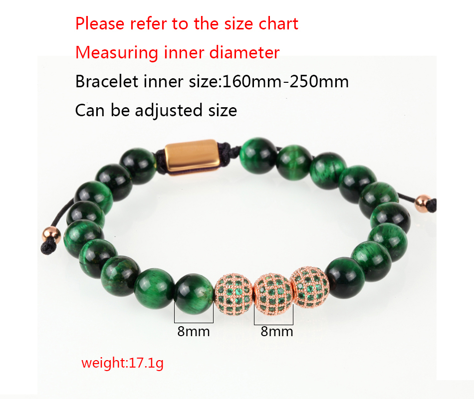 HTB1S3n7MNnaK1RjSZFBq6AW7VXac Crown Ball Pave Setting Zircon Beads Braided Bracelet Bangle Jewelry