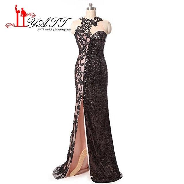 Liyatt Black Sequined Eveing Dresses 2017 Long Sexy High Slip
