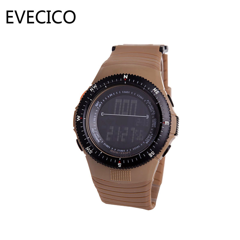 ФОТО EVECICO new waterproof sports watch male military watches students watch outdoor multifunctional electronic male table resin