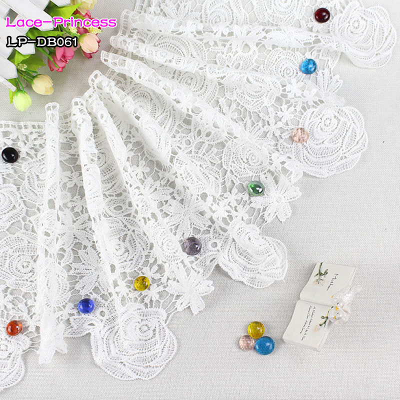 2 yards width 31CM white polyester embroidery Lace fabric skirt hem costumes Accessories Wedding Sewing Edge lace trim DB061
