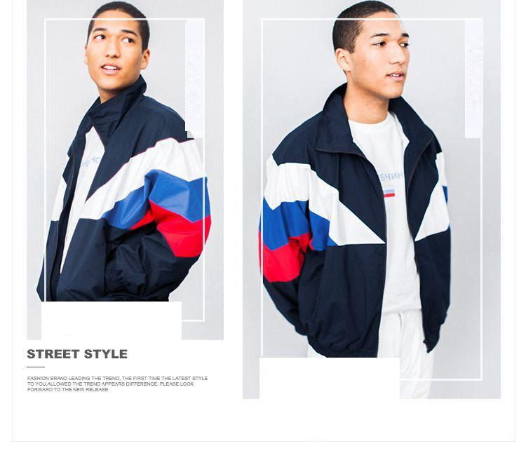 Men Jacket Gosha Rubchinskiy Classic Navy Tricolor Sport Long sleeve Windbreaker Jackets Hiphop Skateboards Couples Outwear S-XL (16)