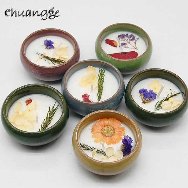 CHUANGGE 2 pc Scented Candles Soy Wax Birthday Gift Aromatherapy Romantic Fragrance Home Decorative Wedding Candles Lotus Flower