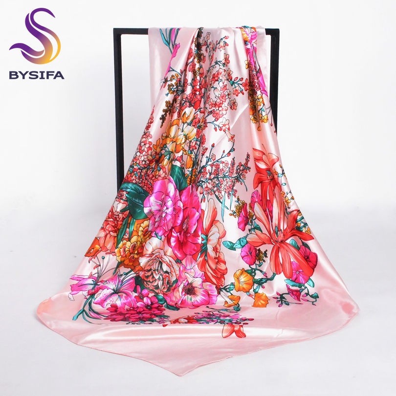 Bysifa Winter Men Women Black White Silk Scarf 90*90cm All-match Geometric Pattern Big Square Scarves Wraps Muslim Headkerchief Convenience Goods Women's Scarves