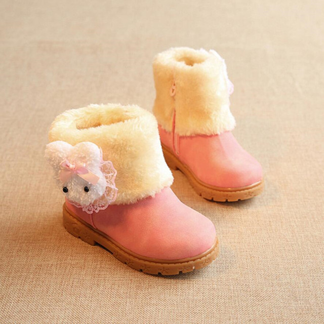 2016 New Winter Children's Snow Boots Girls Winter Shoes Ankle Boots Rabbit Baby's Cotton Baby Shoes Ug Warm