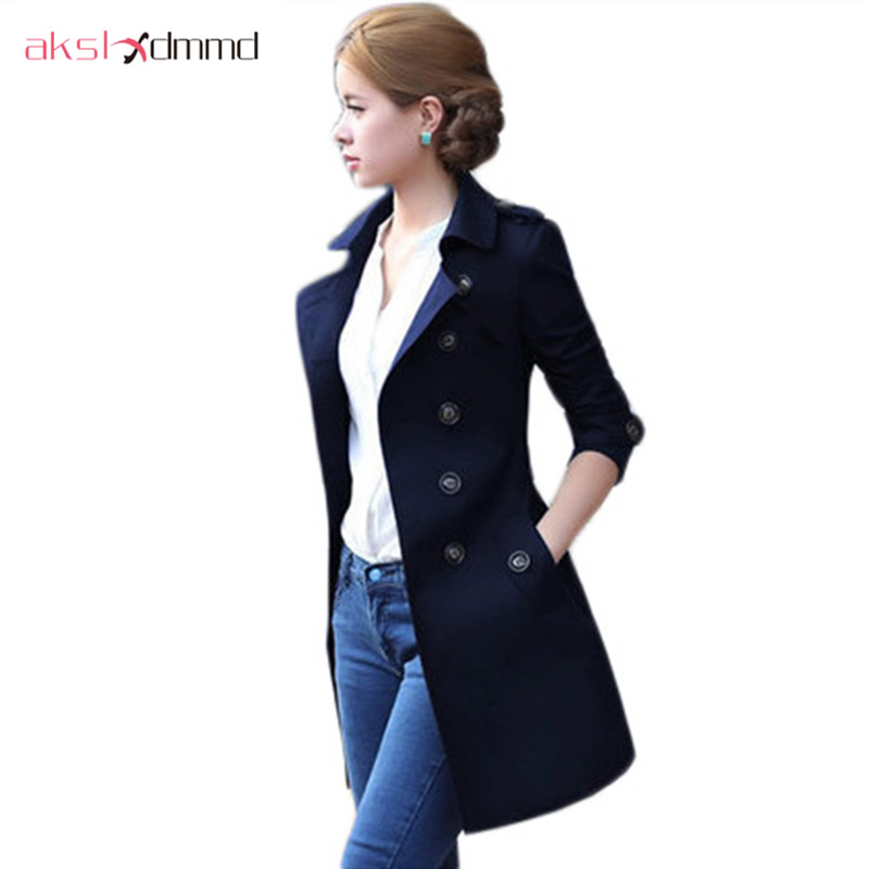 AKSLXDMMD Women Mid-long   Trench   Coat 2019 New Fashion Full Sleeve Double Button Belt Pocket Casual Windbreaker Female ZL3380