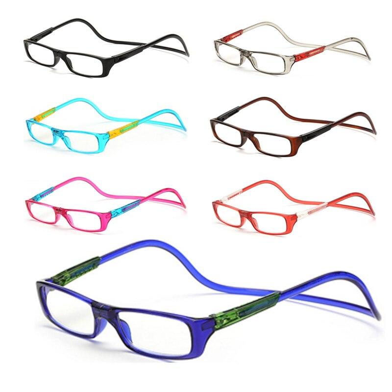 ca899209112 Upgraded Unisex Magnet Reading Glasses Men Women Colorful Adjustable Hanging  Neck Magnetic Front presbyopic glasses pink