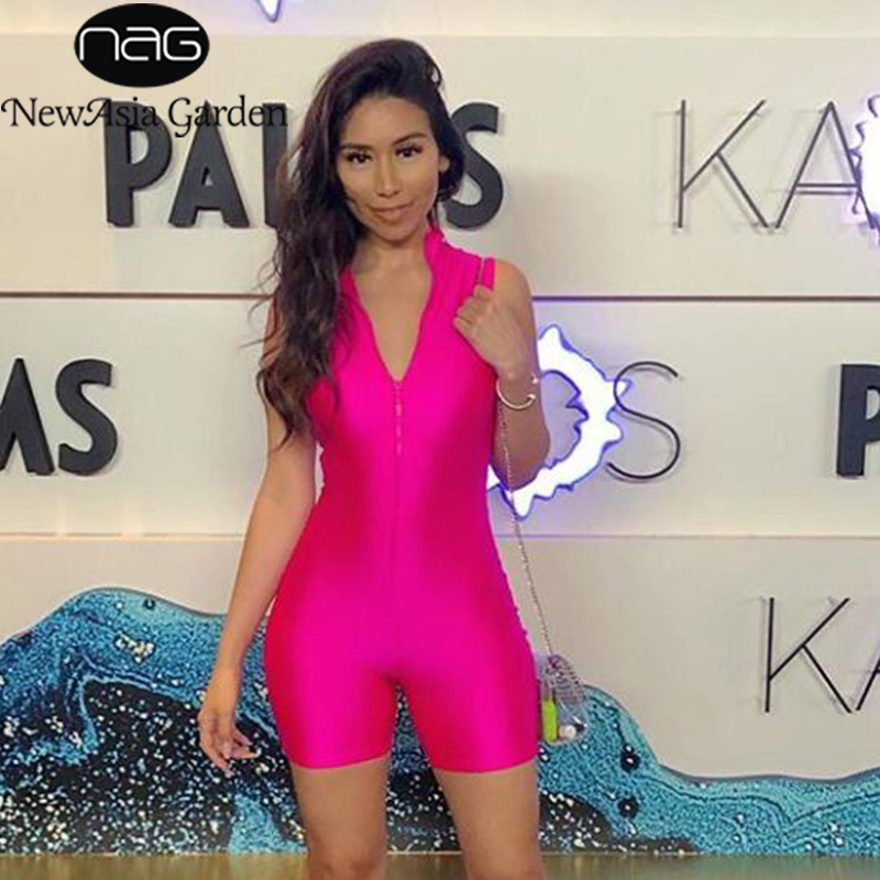 NewAsia Summer Jumpsuit Womens Fashion Elastic Glossy Satin Sleeveless Sexy Bodysuit None Pink Casual Activewear Playsuit 2019