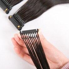 5 יח\חבילה 40 70 cm 6D טבעי שחור שיער לא מעובד הארכת