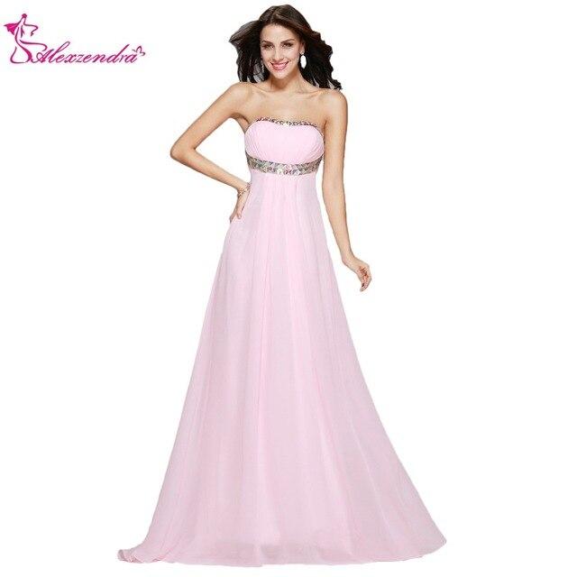 Aliexpresscom Buy Alexzendra A Line Pink Long Chiffon Prom