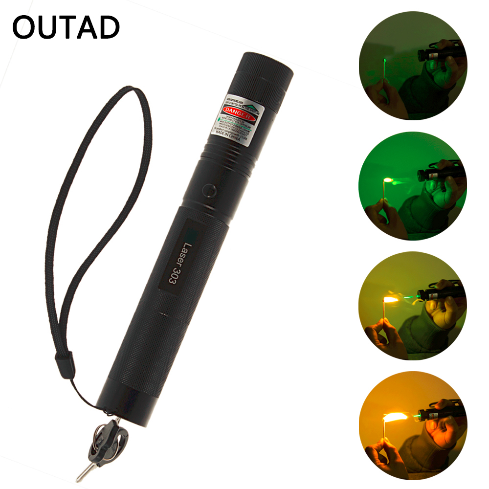 Powerful SD Laser303 Adjustable Focus 532nm Green Laser Pointer Light Output power less than 1mw no battery Drop shipping